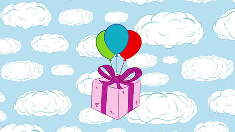 Pink gift box and sky Animation