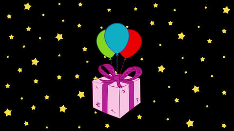 Pink gift box and stars Animation