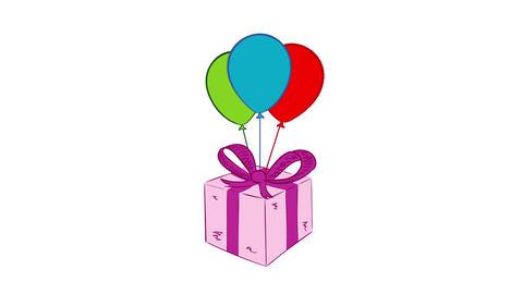 Pink gift box white backround Animation