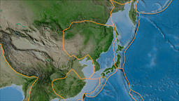 Amur tectonic plate. Satellite imagery A. Borders first. Van der Grinten Animation