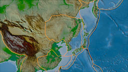 Amur tectonic plate. Physical. Borders first. Van der Grinten projection Animation