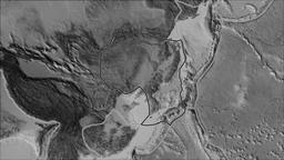 Amur tectonic plate. Elevation grayscale. Stroke first. Van der Grinten Animation