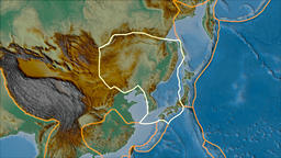 Amur tectonic plate. Relief. Stroke first. Van der Grinten projection Animation