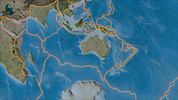 Australian tectonic plate. Satellite imagery B. Borders first. Van der Grinten Animation