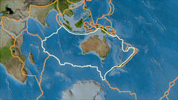 Australian tectonic plate. Satellite imagery A. Stroke first. Van der Grinten Animation