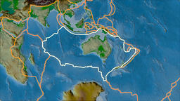Australian tectonic plate. Physical. Stroke first. Van der Grinten projection Animation