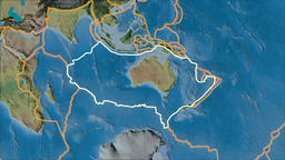 Australian tectonic plate. Topography. Stroke first. Van der Grinten projection Animation