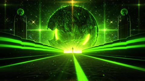 3D Green Sci-Fi Planet Eye Tunnel VJ Loop Background Animation