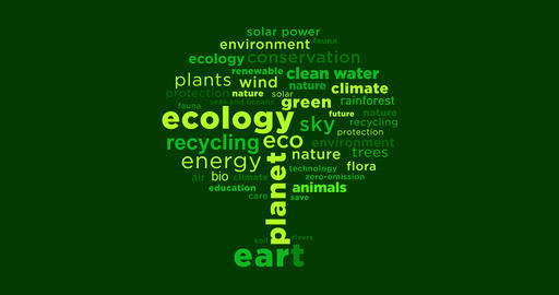 Ecology buzzwords tree concept Animation