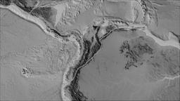 North Andes tectonic plate. Elevation grayscale. Borders first. Van der Grinten Animation