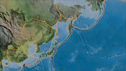 Okhotsk tectonic plate. Topography. Borders first. Van der Grinten projection Animation