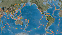 Pacific tectonic plate. Satellite imagery B. Borders first. Van der Grinten Animation