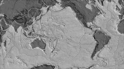 Pacific tectonic plate. Bilevel elevation. Borders first. Van der Grinten Animation