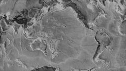 Pacific tectonic plate. Elevation grayscale. Borders first. Van der Grinten Animation