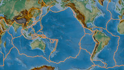 Pacific tectonic plate. Relief. Borders first. Van der Grinten projection Animation