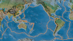 Pacific tectonic plate. Topography. Borders first. Van der Grinten projection Animation