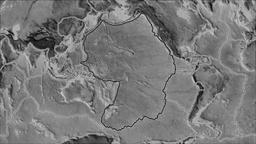 Pacific tectonic plate. Elevation grayscale. Stroke first. Van der Grinten Animation