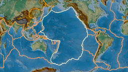 Pacific tectonic plate. Relief. Stroke first. Van der Grinten projection Animation