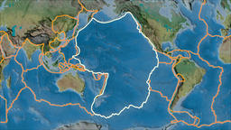 Pacific tectonic plate. Topography. Stroke first. Van der Grinten projection Animation