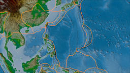 Philippine Sea tectonic plate. Physical. Borders first. Van der Grinten Animation
