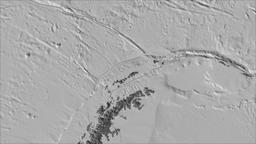 Shetland tectonic plate. Bilevel elevation. Borders first. Van der Grinten Animation