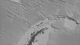 Shetland tectonic plate. Elevation grayscale. Borders first. Van der Grinten Animation