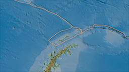 Shetland tectonic plate. Physical. Borders first. Van der Grinten projection Animation