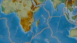 Somalian tectonic plate. Relief. Borders first. Van der Grinten projection Animation