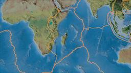 Somalian tectonic plate. Topography. Borders first. Van der Grinten projection Animation