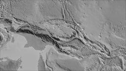 South Bismarck tectonic plate. Elevation grayscale. Borders first. Van der Animation