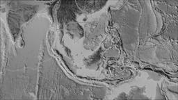 Sunda tectonic plate. Elevation grayscale. Borders first. Van der Grinten Animation