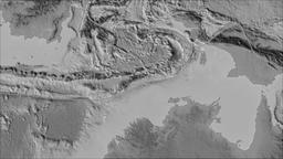 Timor tectonic plate. Elevation grayscale. Borders first. Van der Grinten Animation