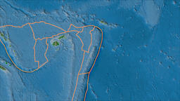 Tonga tectonic plate. Physical. Borders first. Van der Grinten projection Animation