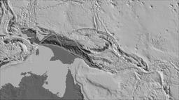 Woodlark tectonic plate. Bilevel elevation. Borders first. Van der Grinten Animation