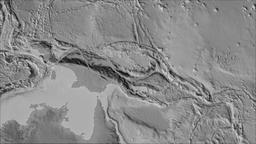 Woodlark tectonic plate. Elevation grayscale. Borders first. Van der Grinten Animation
