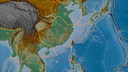 Yangtze tectonic plate. Relief. Borders first. Van der Grinten projection Animation