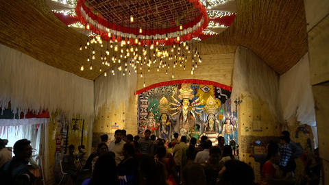 Night footage of Durga Puja Pandal, Kolkata, West Bengal, India 영상물