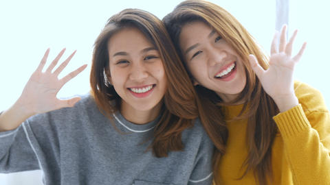 Beautiful young asian woman lesbian happy couple. LGBT lesbian concept Footage