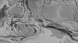 Birds Head tectonic plate. Elevation grayscale. Borders first. Van der Grinten Animation