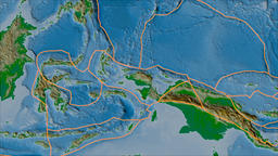 Birds Head tectonic plate. Physical. Borders first. Van der Grinten projection Animation