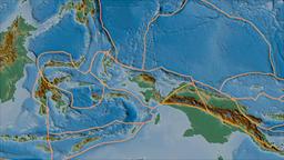 Birds Head tectonic plate. Relief. Borders first. Van der Grinten projection Animation