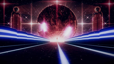 3D Blue Red Sci-Fi Planet Eye Tunnel VJ Loop Background GIF