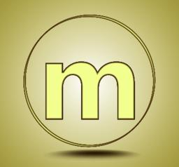Letter M lowercase, round golden icon on light golden gradient background Vector