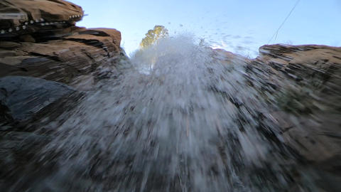 Camera under the waterfall Footage