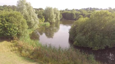 Flying over a large pond UK Summer Live Action