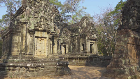 Walking among the temples in Angkor Wat Footage