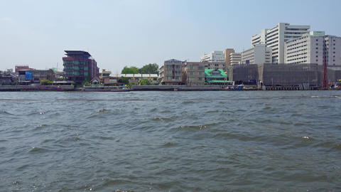View of Bangkok from a boat on the river, Thailand Footage