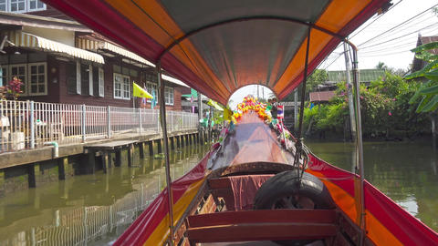 Boating On The Canals Of Bangkok, Thailand stock footage