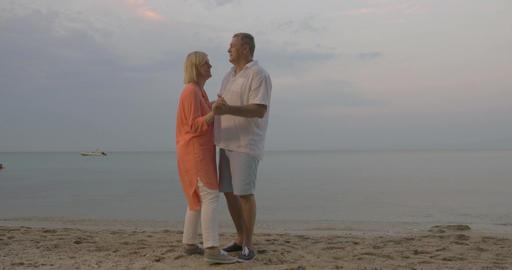 Senior couple dancing on the beach Footage