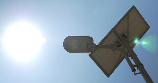 Lamp of Street Lighting with Solar Battery Footage